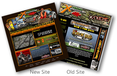 Old and new Xtreme Outdoors sites